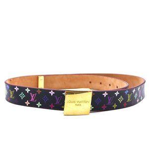 Gold Buckle Leather Size 90 36 Logo Belt